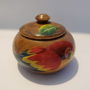 Other - Hand carved and painted Parrot wood Trinket box